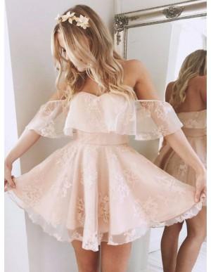 A-Line Off-the-Shoulder Short Pink Organza Homecoming Dress