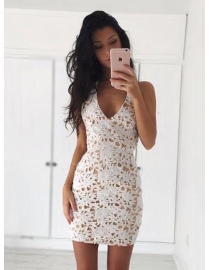 Sheath V-Neck Sleeveless Short Ivory Lace Homecoming Dress