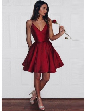 A-Line Spaghetti Straps Short Red Satin Homecoming Dress with Pockets