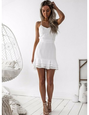 Bodycon Spaghetti Straps Criss-Cross Straps Tiered White Homecoming Dress