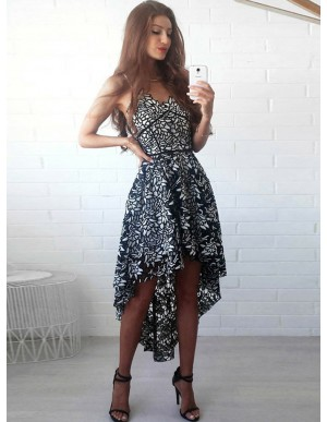 A-Line Spaghetti Straps Hi-Lo Black Lace Homecoming Dress