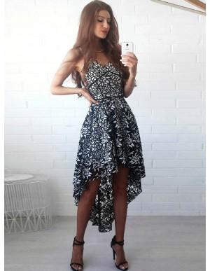 A-Line Spaghetti Straps Hi-Lo Black Lace Homecoming Dress
