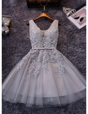 A-Line V-Neck Appliques Grey Tulle Short Homecoming Dress