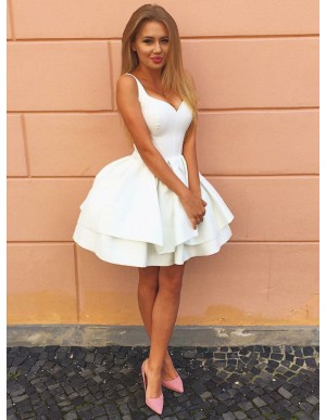 A-Line Straps White Tired Satin Homecoming Dress