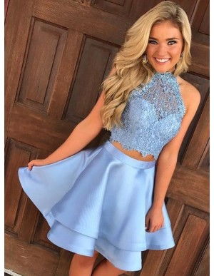 Two Piece Halter Open Back Blue Satin Homecoming Dress with Lace