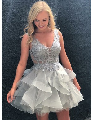 A-Line Scoop Backless Appliques Gray Organza Homecoming Dress