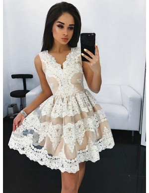 A-Line V-Neck Champagne Tulle  Homecoming Dress with Appliques