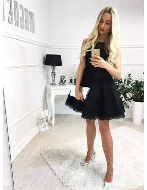 A-Line Bateau Open Back Black Lace Homecoming Dress