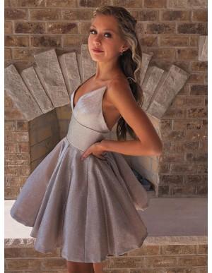 A-Line Sleeveless Short Silver Homecoming Dress
