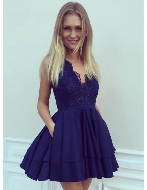A-Line V-Neck Short Navy Blue Satin Homecoming Dress with Lace Pockets