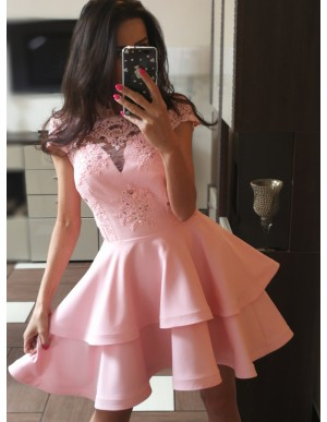 A-Line Bateau Cap Sleeves Pink Appliques Homecoming Dress