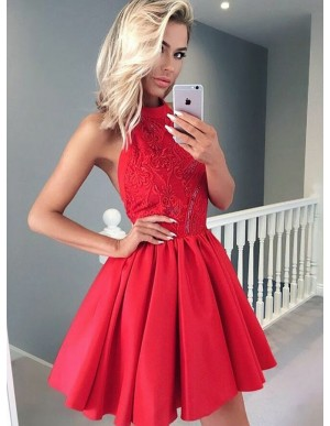 A-Line Halter Backless Red Homecoming Dress with Appliques