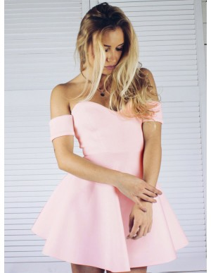 A-Line Off-the-Shoulder Short Sleeves Pink Satin Homecoming Dress
