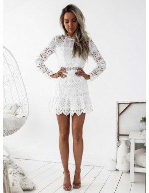 Sheath High Neck Long Sleeves White Lace Homecoming Dress