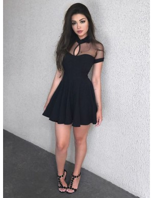 A-Line High Neck Short Sleeves Black Homecoming Dress with Keyhole