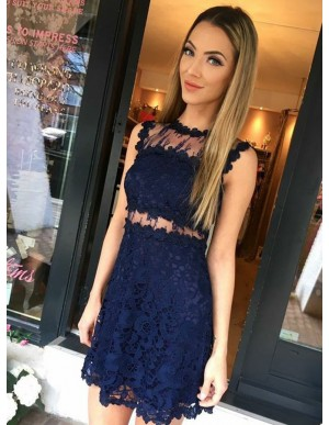 Sheath Jewel Sleeveless Navy Blue Lace Homecoming Dress