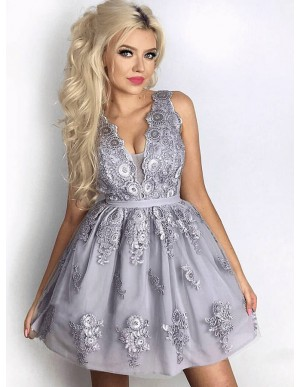 A-Line V-Neck Above-Knee Lavender Homecoming Dress with Appliques