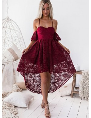 A-Line Off the Shoulder Lace High Low Party Dress Burgundy Homecoming Dress