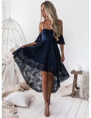 A-Line Off The Shoulder Navy Blue Lace High Low Homecoming Dress