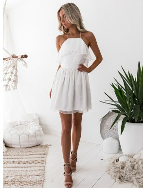 A-Line Halter Printed White Chiffon Homecoming Dress With Ruffles