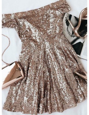 A-Line Of-the-Shoulder Champagne Sequin Short Homecoming Dress