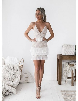 A-Line Spaghetti Straps Champagne Homecoming Dress with Ruffles