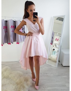 A-Line V-Neck Cap Sleeves High-Low Pink Homecoming Dress with Sash