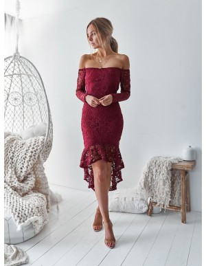 Mermaid Off-the-Shoulder High-Low Burgundy Lace Homecoming Party Dress