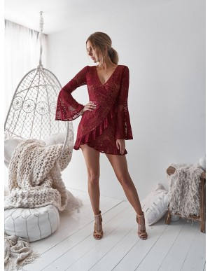 A-Line V-Neck Bell Sleeves Short Burgundy Lace Homecoming Dress