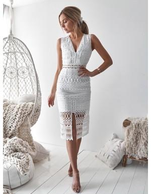 Sheath V-Neck Mid-Calf White Lace Cocktail Dress