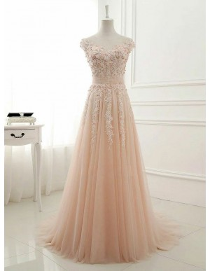 A-Line Jewel Sweep Train Train Pink Tulle Prom Dress with Appliques