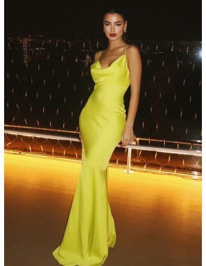 Stunning Neon Yellow Prom Dress Mermaid Formal Dress