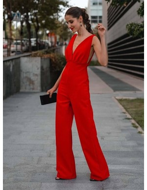 Elegant V-Neck Backless Red Jumpsuit