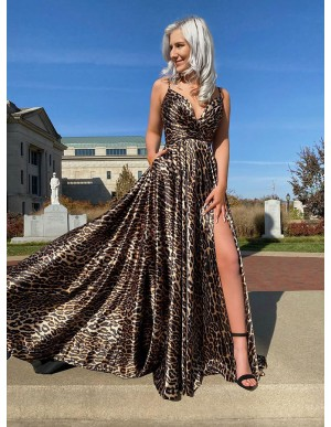 Animal Print Leopard Long Prom Dress with Slit Pockets