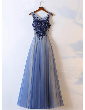 A-Line Round Neck Blue Prom Dress with Appliques Sequins
