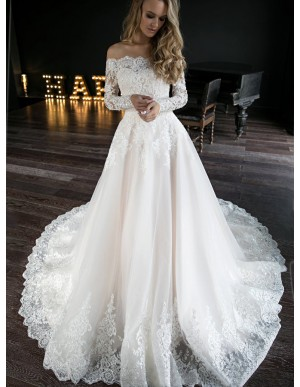 A-Line Off-the-Shoulder Wedding Dress with Sleeves Appliques