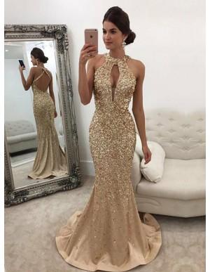 Halter Mermaid Prom Dress with Beading Keyhole Gold Evening Dress