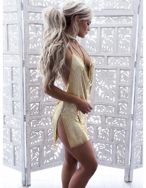 Sheath Halter Backless Short Gold Sequined Cocktail Dress